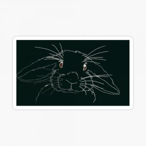 Black bunny in the night sticker by Susan Wilander